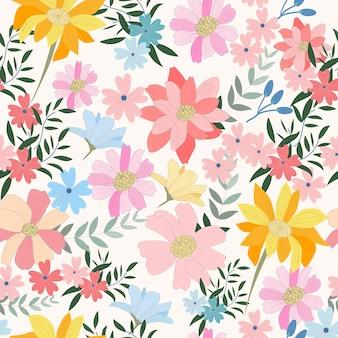 밝은 파란색과 분홍색 야생 꽃과 잎 원활한 패턴