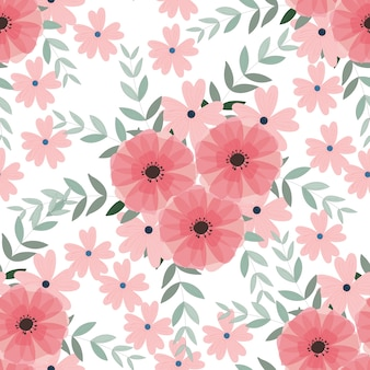 Light blue and pink wild flower and leaf seamless pattern