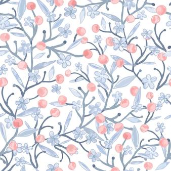 葉のシームレスなパターンを持つ明るい青と赤の花。