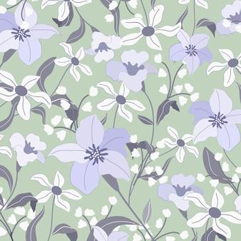 庭の明るい青と白の花。
