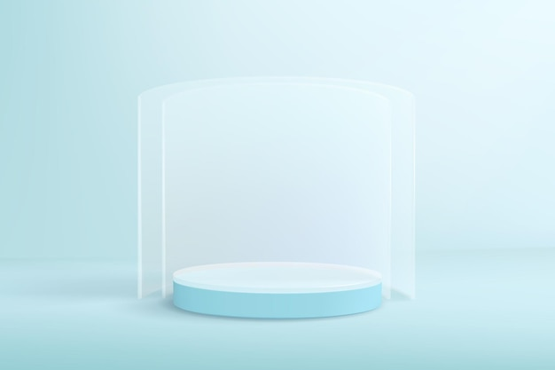 Light blue background in minimal style with empty podium and glass walls