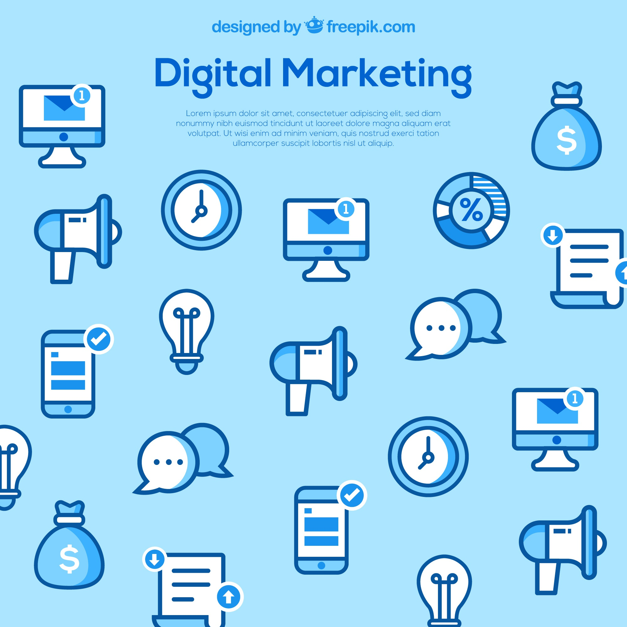 Light blue background with marketing elements