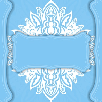 Light blue banner template with abstract white pattern and space for your logo