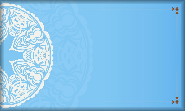 Light blue banner with abstract white ornament and a place under the logo