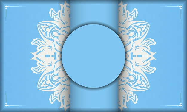 Light blue banner with antique white pattern and space for text