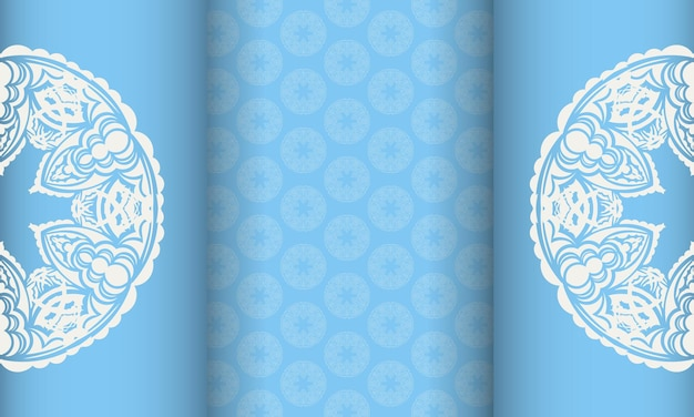 Light blue banner with old white ornaments and a place for the logo
