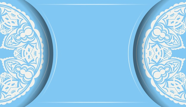Light blue banner with old white pattern and logo space