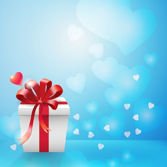 Light blue bokeh and hearts background with vertical white carboard gift box and red ribbon bow in corner flat