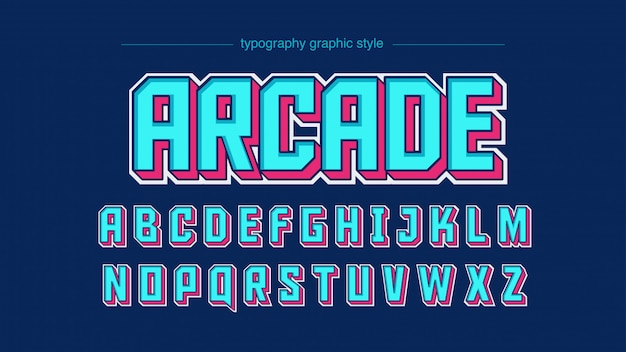 Light blue bold typography with pink shadows