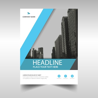 Light blue business brochure template with geometrical shapes