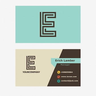 Light blue business card with e letter