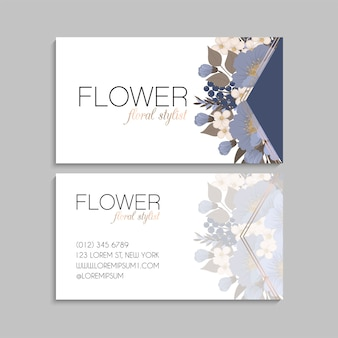 Light blue business cards flower template