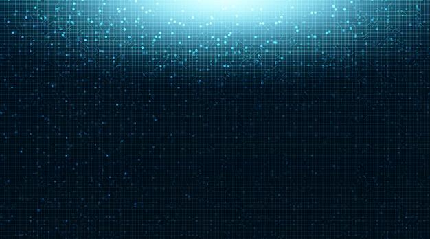 기술 배경, 하이테크 디지털 및 보안 개념에 밝은 파란색 회로 마이크로 칩