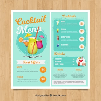 Light blue cocktail menu