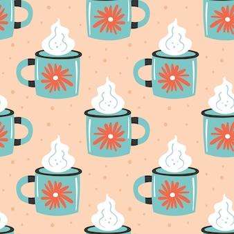 蒸気のシームレスなパターンを持つライトブルーカップ