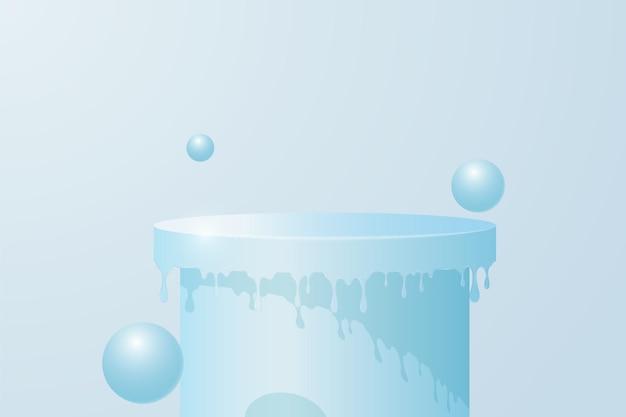 製品プレゼンテーション用の水色の円筒形の表彰台