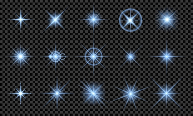 Light blue effects, isolated on transparent background. glowing lights, bright stars, flashes of light. vector illustration
