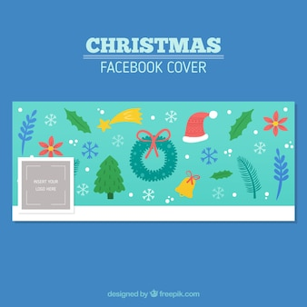 Light blue facebook cover of christmas items
