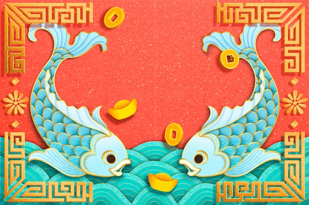 종이 아트 스타일의 하늘색 물고기와 금괴 요소