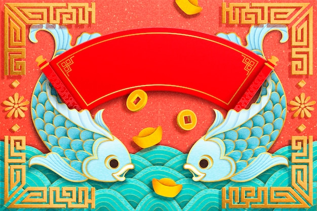 Light blue fish and gold ingot elements in paper art style