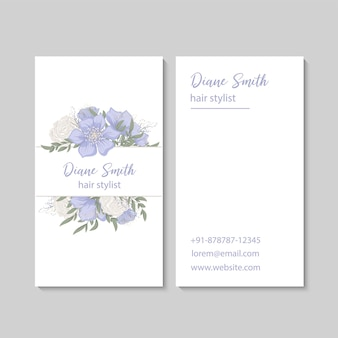 Light blue flower business cards template