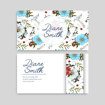 Light blue flower business cards