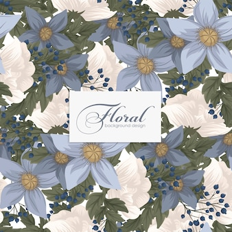 Light blue flower seamless background