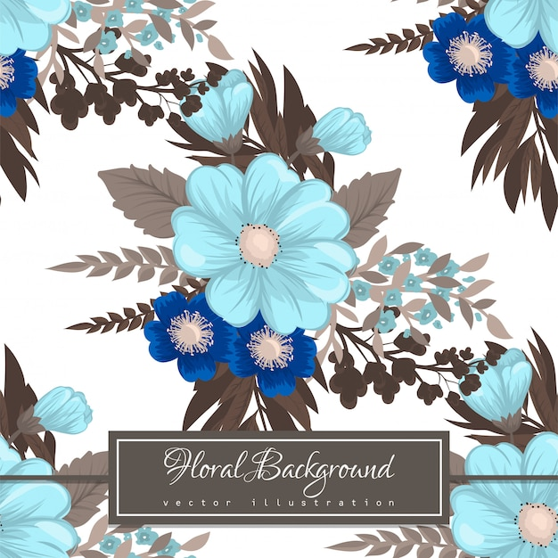 Light blue flower  seamless pattern