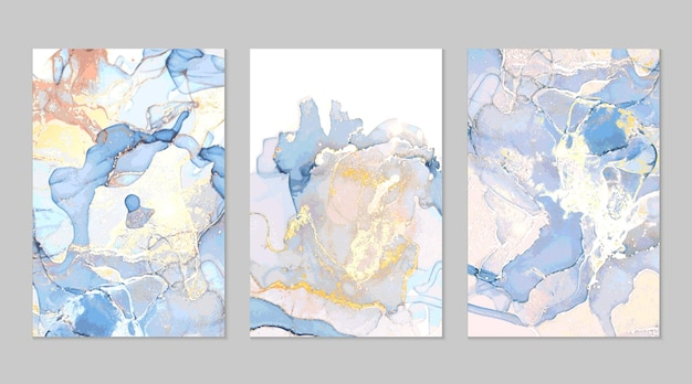 Light blue and gold marble abstract textures