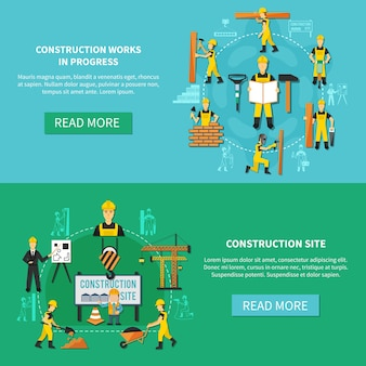 Light blue and green construction worker flat banner set with construction site and works in progress descriptions