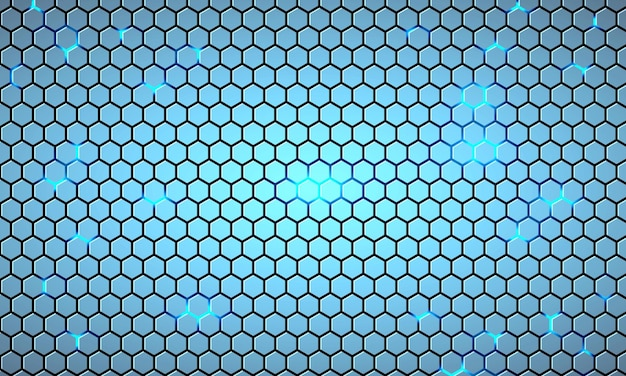 Light blue hexagonal technology abstract background with bright flashes