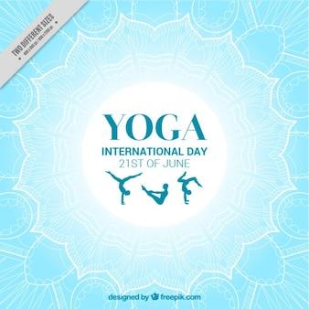 Light blue international yoga day background