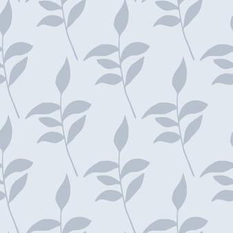 Светло-синие листья ветвей силуэты бесшовные модели. листва пастельной мягкой палитры. цветочный фон. креативный принт на обои, текстиль, оберточную бумагу, печать на ткани. иллюстрация.