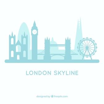 ライトブルーのロンドンのスカイラインデザイン