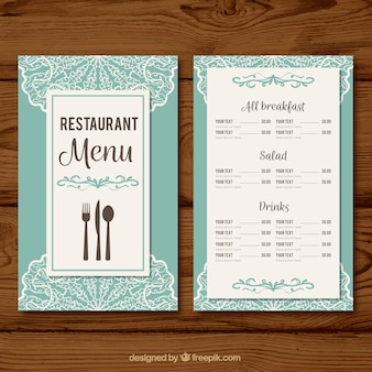 Light blue menu template