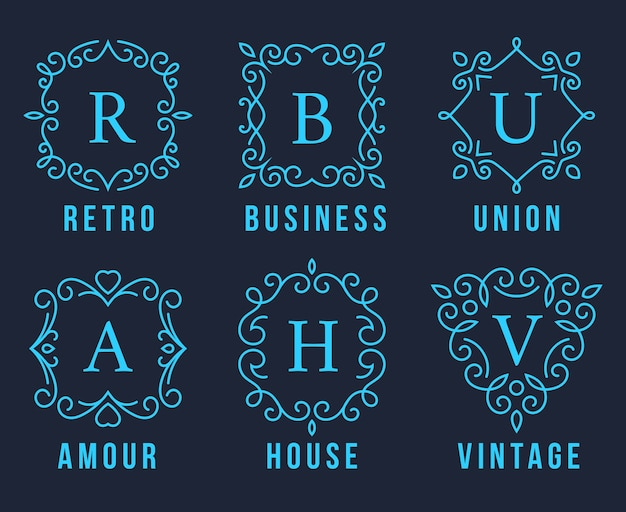 Loghi monogramma azzurro imposta illustrazione su sfondo grigio scuro.