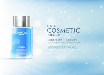 美しい青いボケの背景を持つ化粧品の広告表示のコンセプトテンプレート