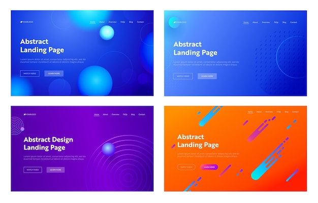 Light blue purple orange abstract geometric line shape landing page background set. digital motion gradient pattern. creative neon element for website web page. flat cartoon vector illustration
