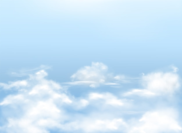 Light blue sky with white clouds, realistic background, natural banner with heavens.