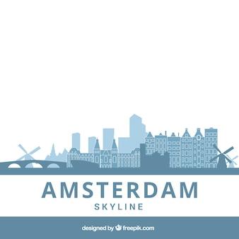 Light blue skyline of amsterdam
