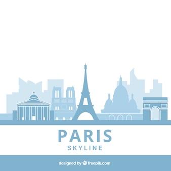 Light blue skyline of paris