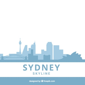 Light blue skyline of sydney