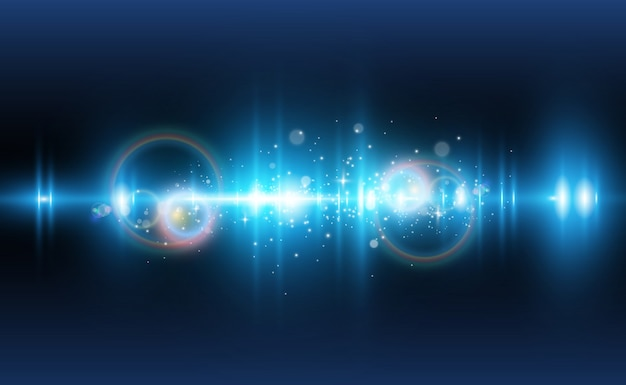 Светло-голубой спецэффект. светящиеся красивые яркие линии на темном фоне.