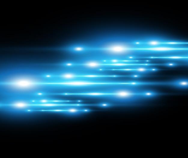 ライトブルーの特殊効果。暗い背景に輝く美しい明るい線。