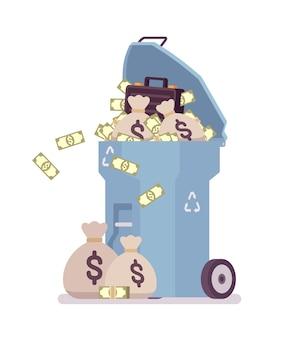 Light blue trash bin with money