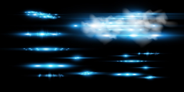 Light blue vector special effect glowing beautiful bright lines on a dark background