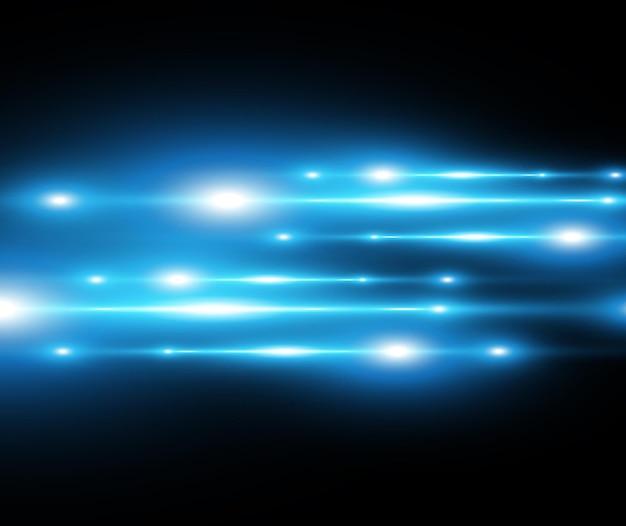 밝은 파란색 벡터 특수 효과 어두운 배경에 빛나는 아름다운 밝은 선