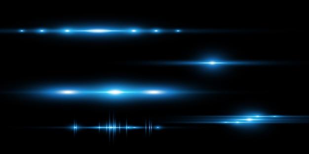 Светло синий вектор спецэффект. светящиеся красивые яркие линии на темном фоне.