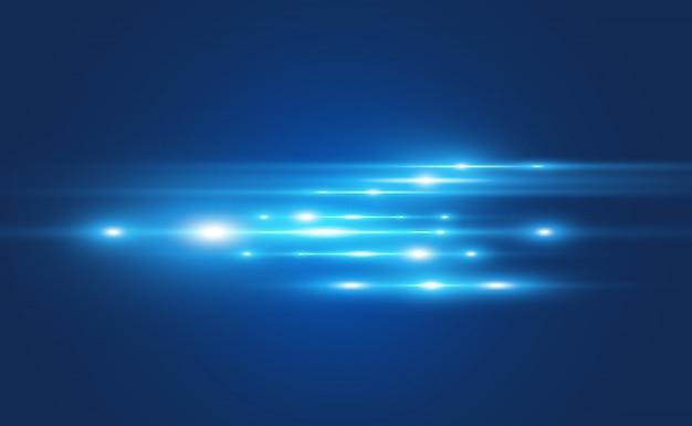 水色のベクトル特殊効果。暗い背景に輝く美しい明るい線。