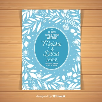 Light blue wedding invitation template